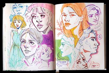 Sketchbook Page Random Portraits