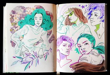 Sketchbook Page Serene Girls
