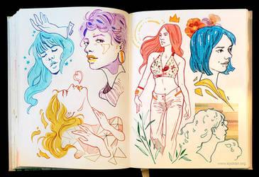 Sketchbook Page Lovely Girls