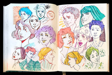 Sketchbook Page Omg So Many Faces