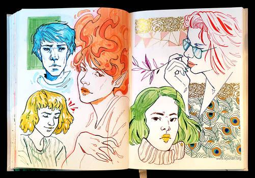 Sketchbook Page Wavy Hair