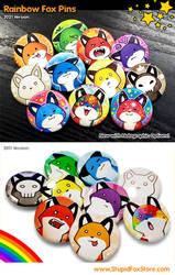 Rainbow Fox Pins