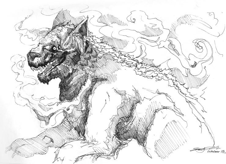 Demonic dog drawing