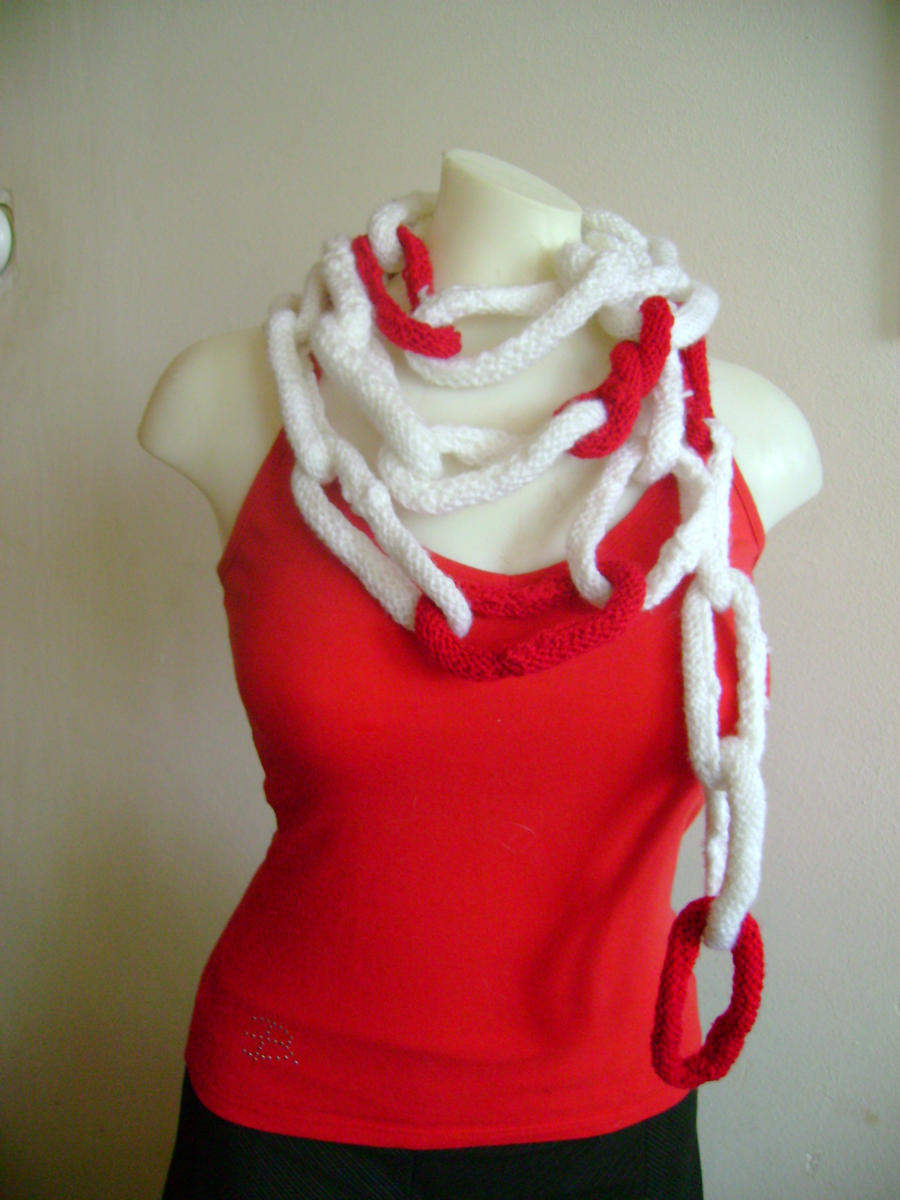 knitted necklace scarf by MadeByMin