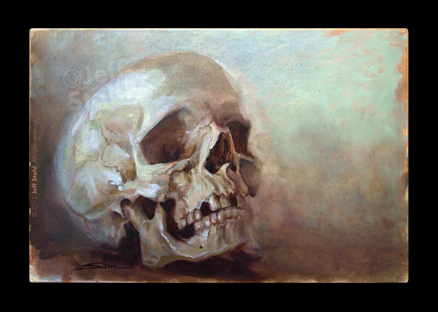 Oil painting skull study II by JeffStahl
