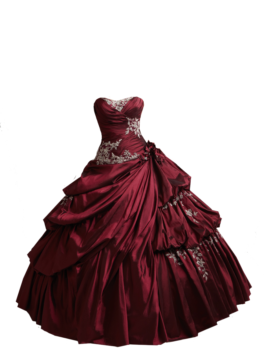 Red Burgundy Ball Gown PNG