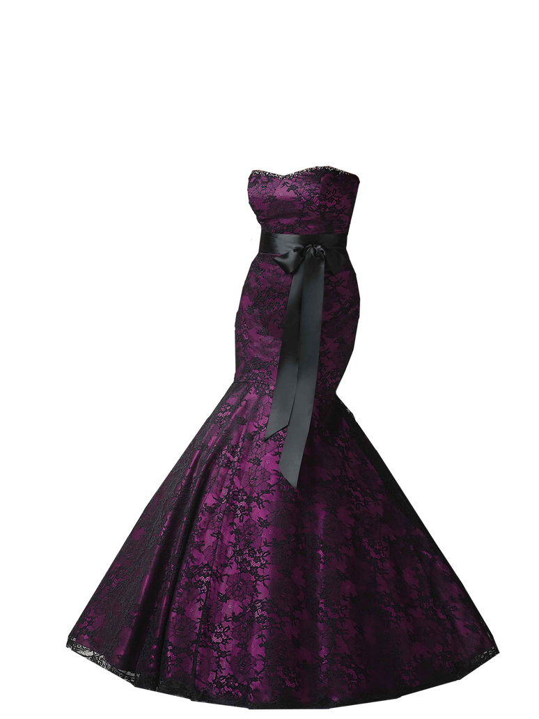Gothic wedding dresses black and purple for Black wedding dress mermaid