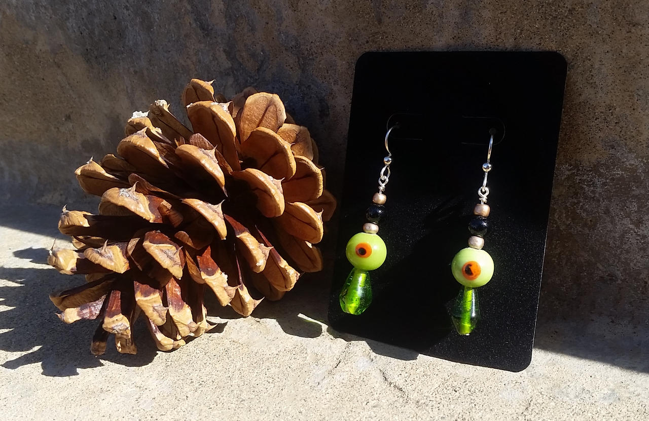 Eye Bead Nazar Earrings - Beaded