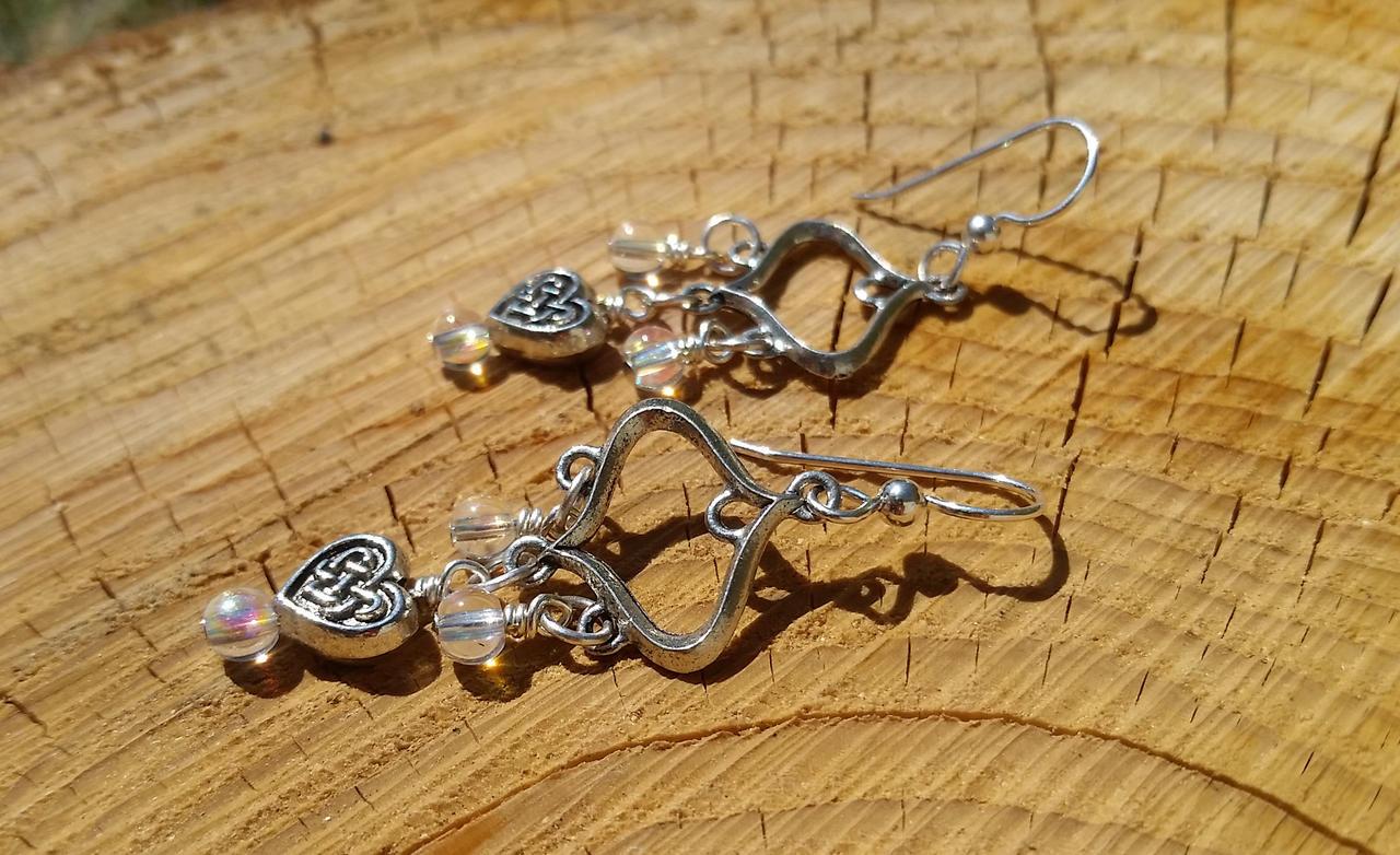 Shimmering Heart Chandeliers - Beaded Earrings