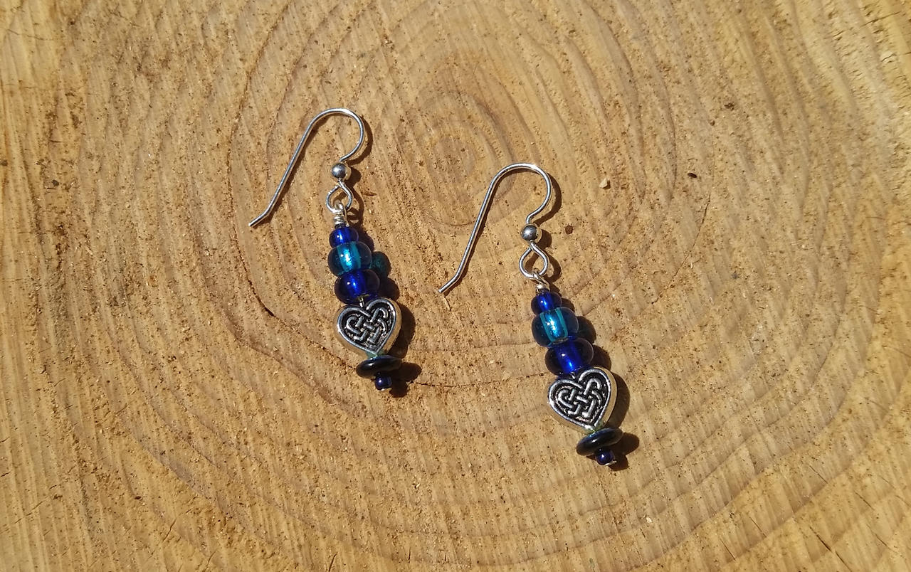 Blue Celtic Hearts - Beaded Earrings