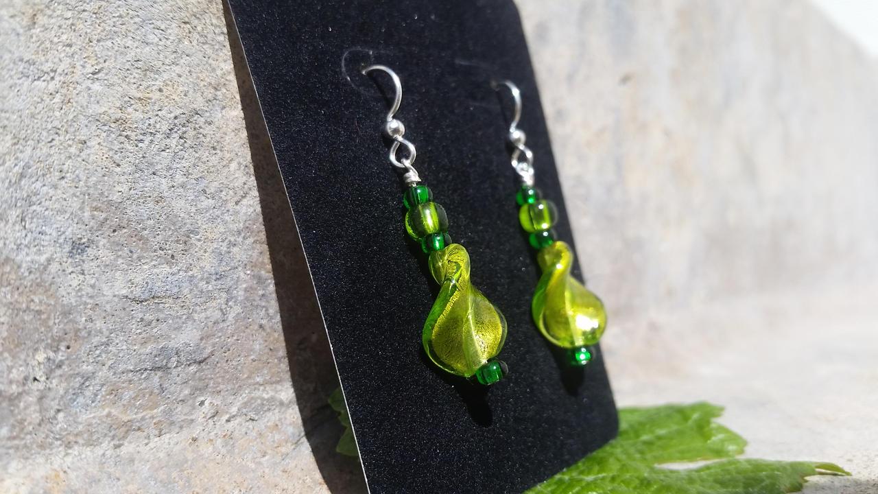 Emerald Leaves - A New Twist - Beaded Earrings