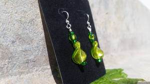Emerald Leaves - A New Twist - Beaded Earrings
