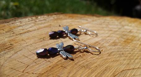 Soaring Purple Dragonflies - Beaded Earrings