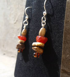 Jasper Spires - Beaded Earrings - Carnelian