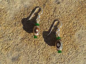 Snakeskin Agate Dzi Eye Bead Earrings