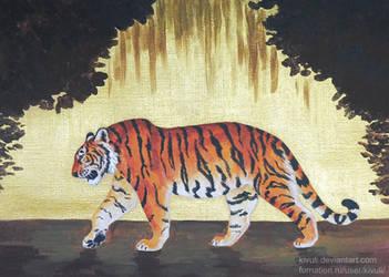 Tiger on gold by Kivuli
