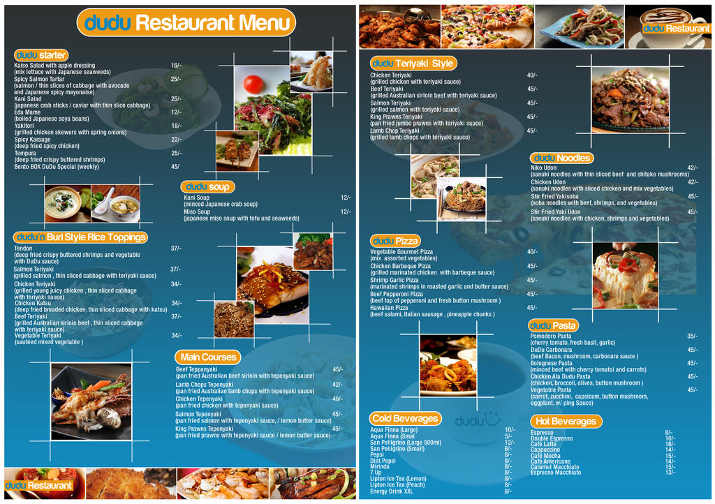 Dudu restaurant menu content by cedricvillanada on for Artistic cuisine menu