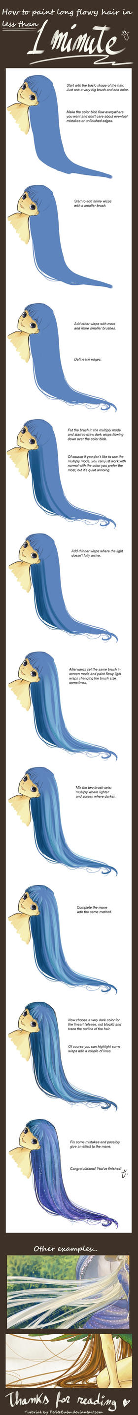 How to paint flowy long hair in less than 1 minute by PetiteBubu