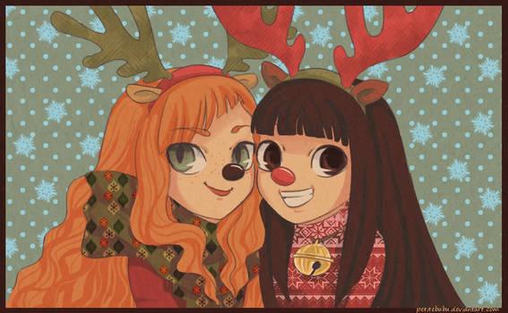 Laicon and Aimee reindeer