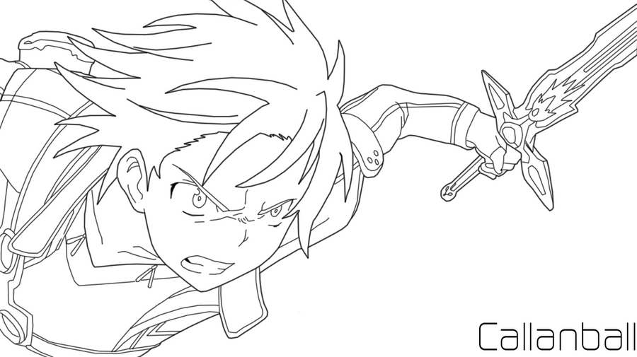 Kirito Lineart : Kirito version line art by callanball on deviantart