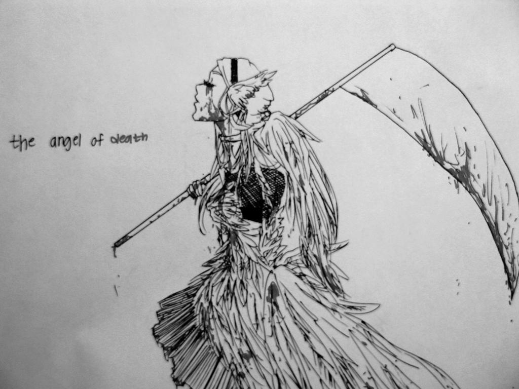 Black and white version of the angel of death by chanmanthechinaman