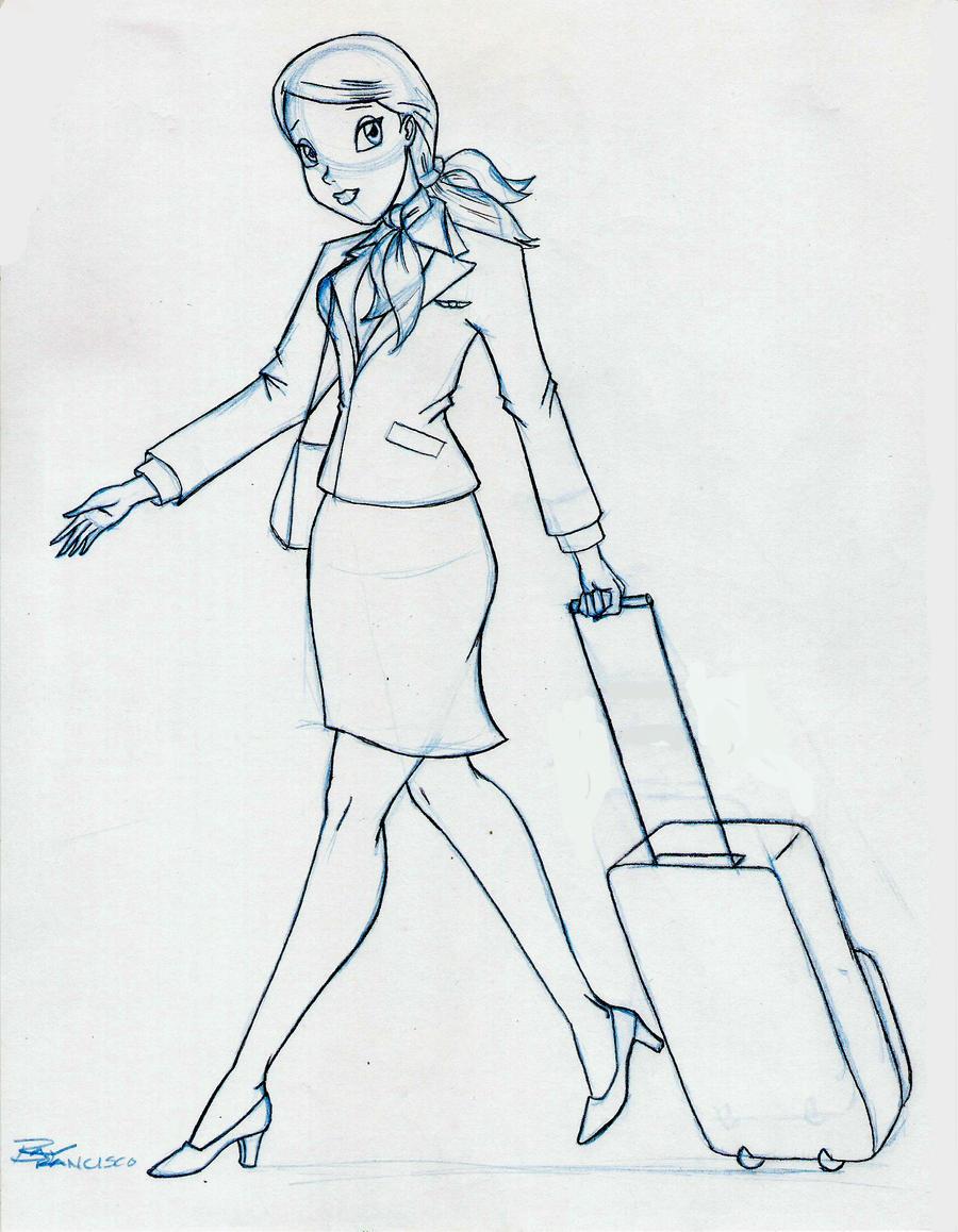 Flight Attendant Sketch By Anime Ray On Deviantart