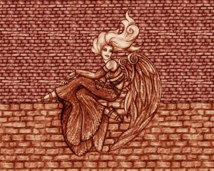 Angel on a wall by freyah