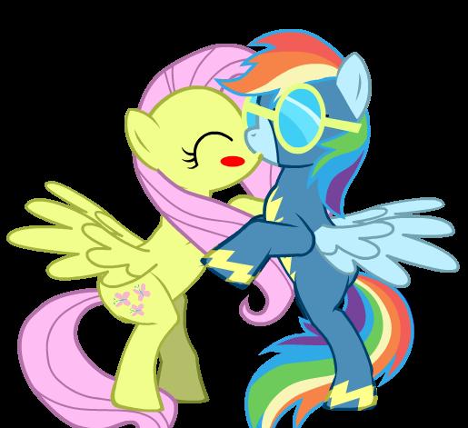 Rainbow Dash wolderbolt kiss Fluttershy by BrisaFluttershy