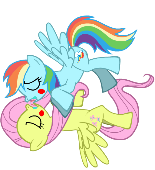 Rainbow Dash and Fluttershy kiss of language by ...