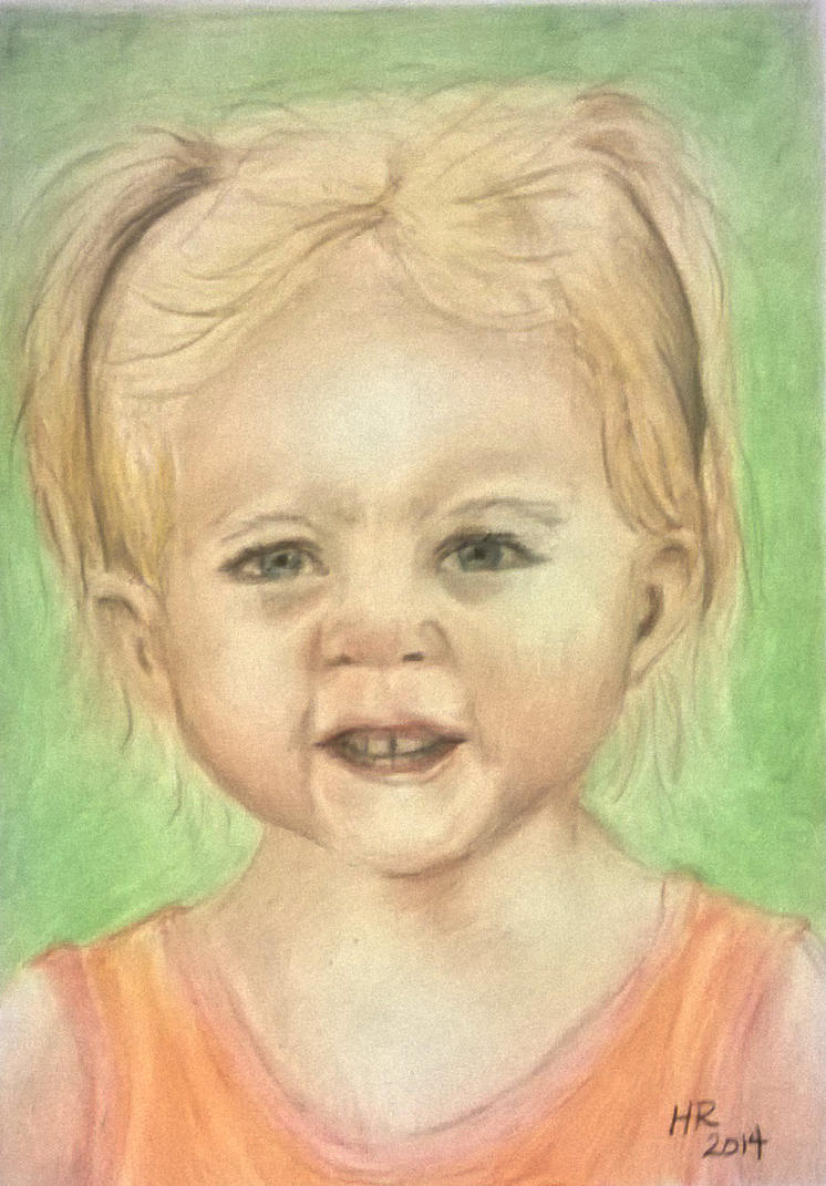 Color Pencil Portrait of Toddler by helenscreations