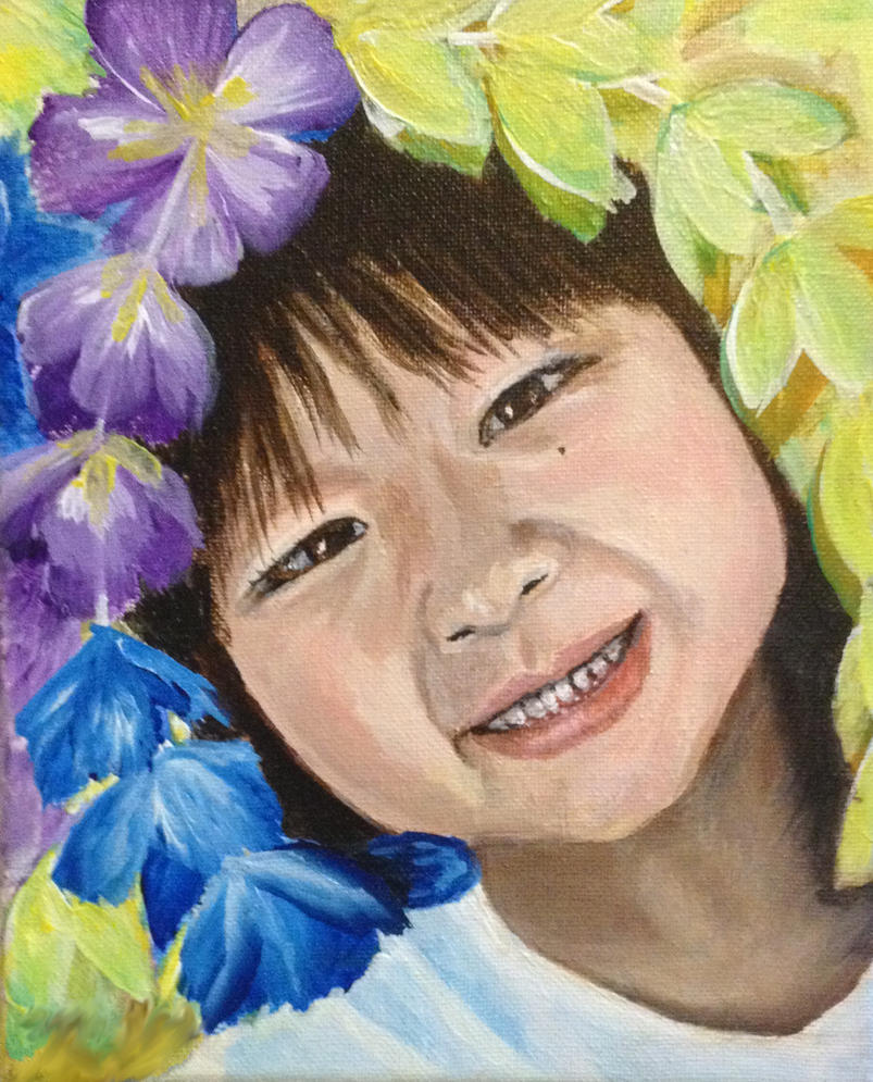 Acrylic Portrait of A girl and Flowers by helenscreations