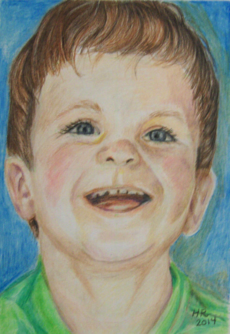 Color Pencil Portrait Of Young Boy by helenscreations
