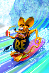 Rat Fink Surfs!