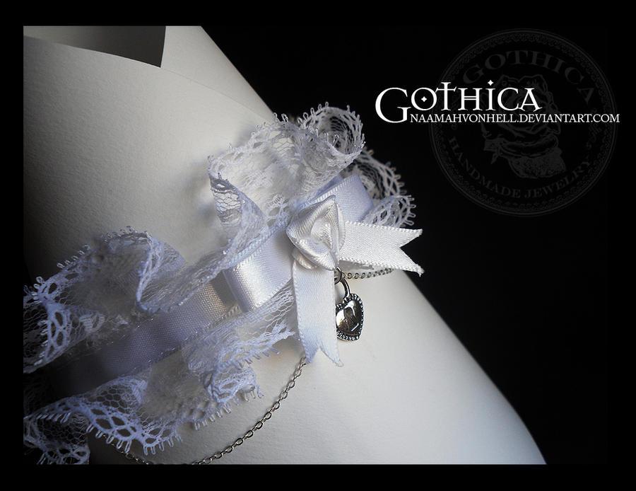 Pure White Victorian Gothic Choker Heart Padlock by NaamahVonhell