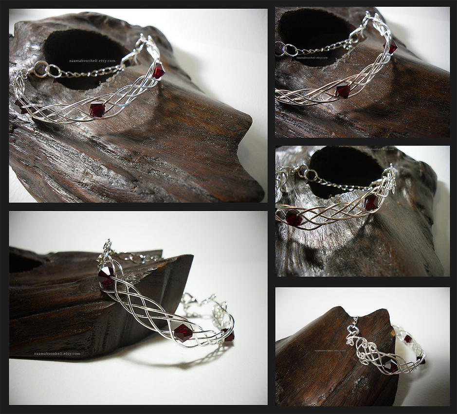 Celtic Bracelet Silver and Crystal Red Beads by NaamahVonhell