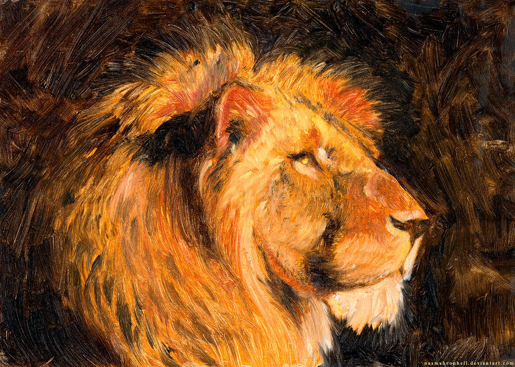 For Cecil - Lion, oil on cardboard by NaamahVonhell