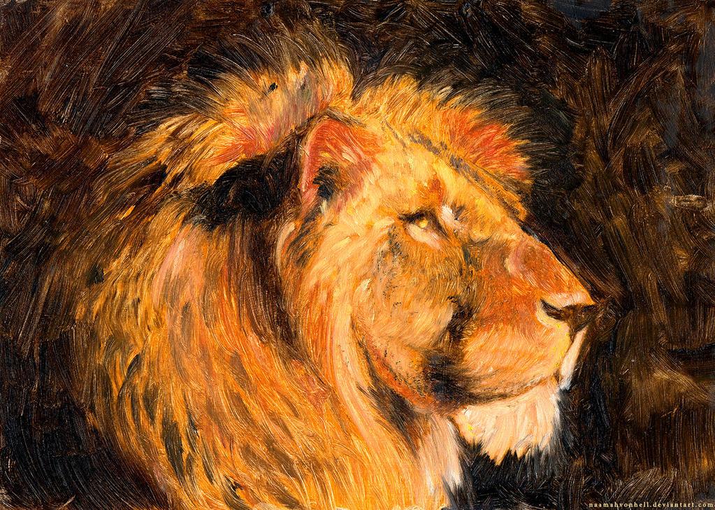 For Cecil - Lion, oil on cardboard by NaamahVonhell