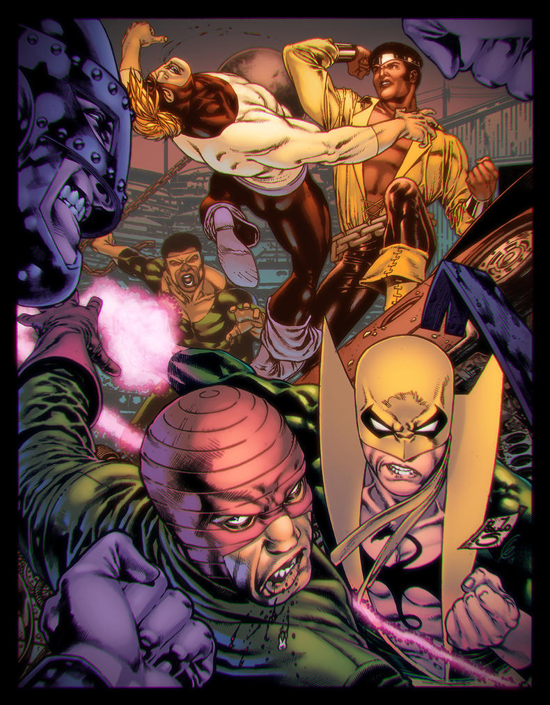 Iron Fist, Luke Cage and The Wrecking Crew by EagleGosselin