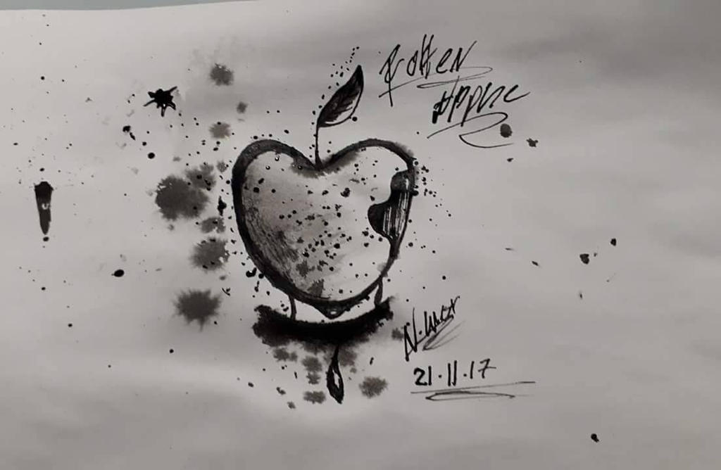 Rotten Apple Ink Art by NatalieGuest
