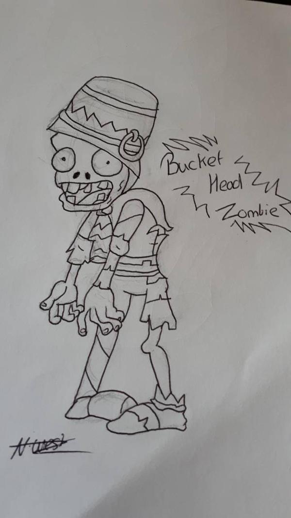 Bucket Head Zombie Sketch by NatalieGuest