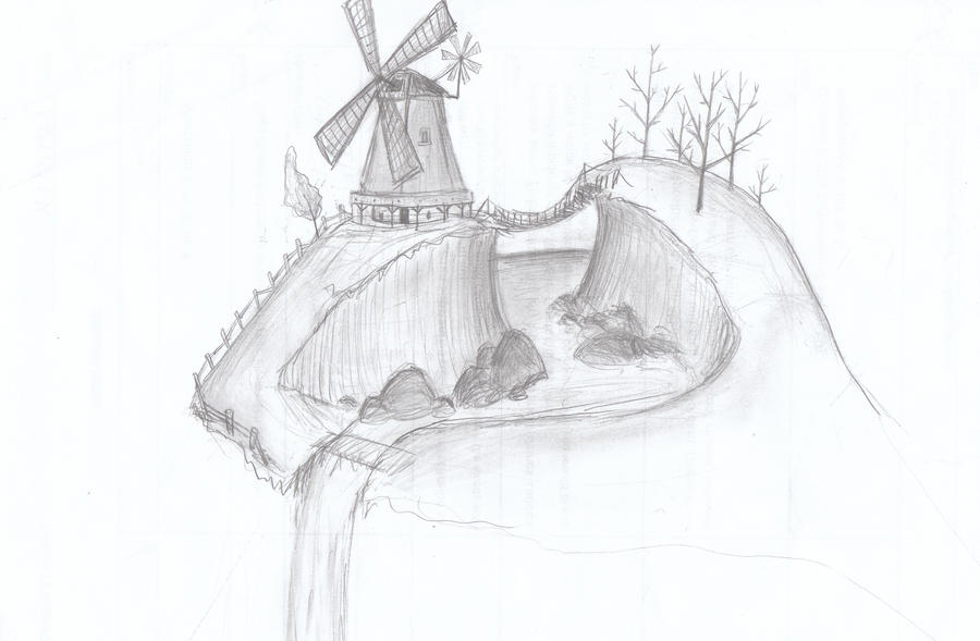 Cliff with a windmill by bdeink