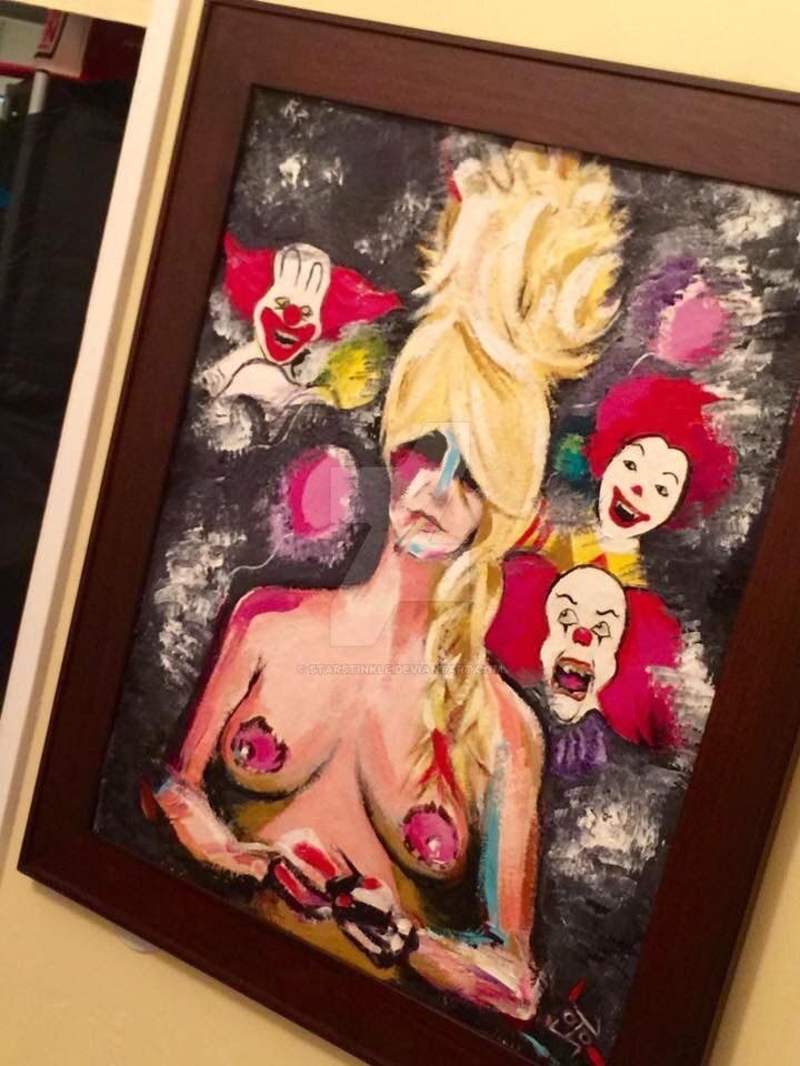 Working Girl with cast of Clowns by Starstinkle