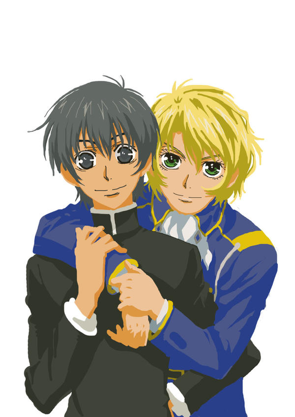 Wolfram yuuri hug no bg by raserei hojo on deviantart - Anime boy hugging girl ...