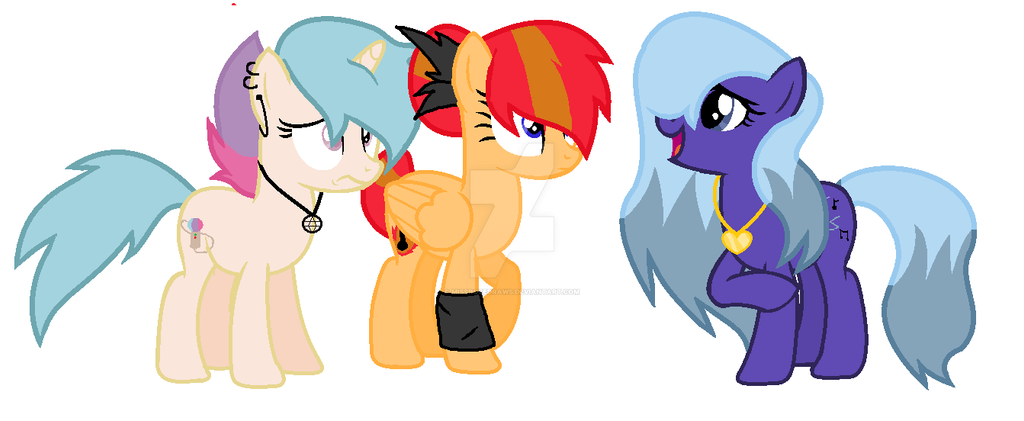 Dazzlings Pony form by MissRoseDraws