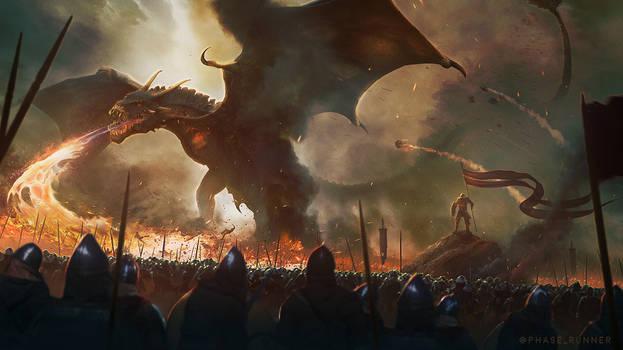 Epic Dragon Battle - Photoshop Art