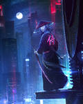 Neon Samurai - Photoshop Art