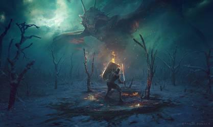 Dragon VS Knight - Photoshop Art