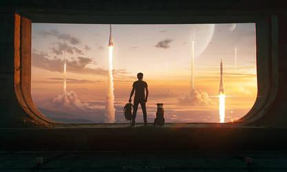 Rocket Launch - Photoshop Art