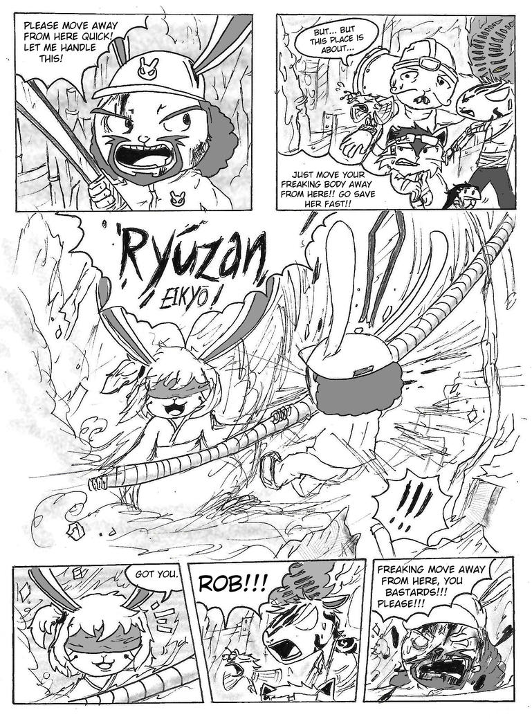 Comic Page Rework 2: Bunny Fight by BlueTide1410