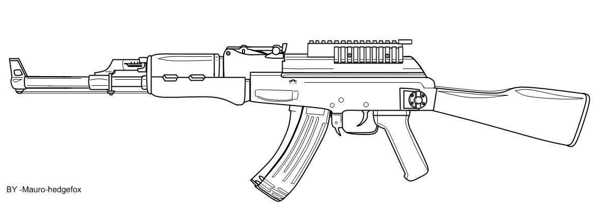 AK-47 Black and White Drawing